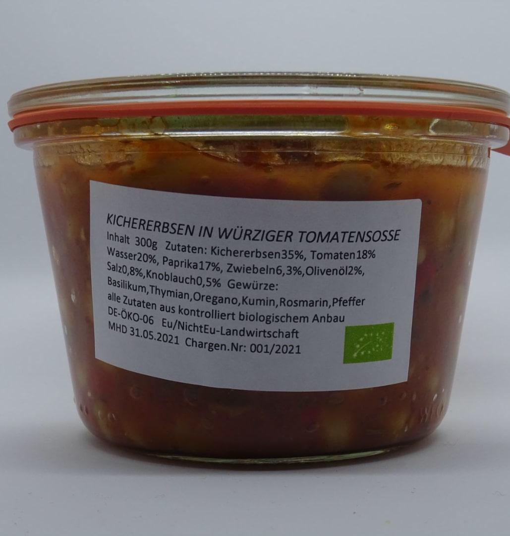 Kichererbsen in würziger Tomatensoße - 300g